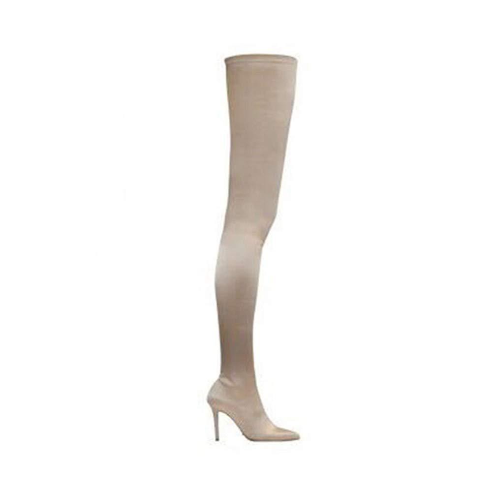 HAOLIEQUAN Frauen Over Kniehohe Stiefel Warme Winterschuhe Stretch Elastische High Heels Stiefel Frau Spitzschuh Plus Größe Damen Schuh
