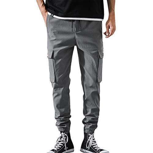 Aleola Men's Casual Straight Pocket Trousers Drawstring Pants (Dark Gray,XXL)