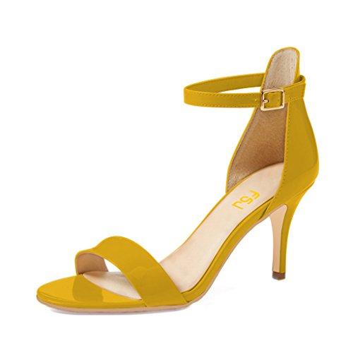 FSJ Women Comfy Open Toe Summer Sandals Ankle Strap Kitten Mid Heels Shoes Patent Leather Size 9 - Sandals Kitten Leather Heel