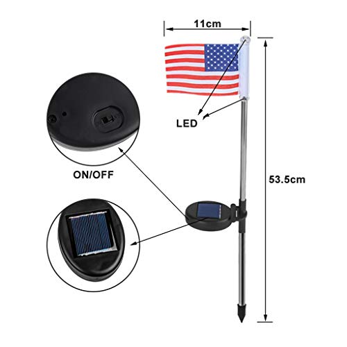 Puyujin Independence Day Products - Independence day 2PC Solar Light Power American Flag LED Outdoor Garden Path Landscape Lamp Decor
