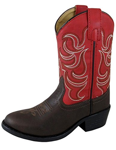 Smoky Mountain Childrens Boys Monterey Dk Brown/Red Manmade Cowboy Boots 9 D ()