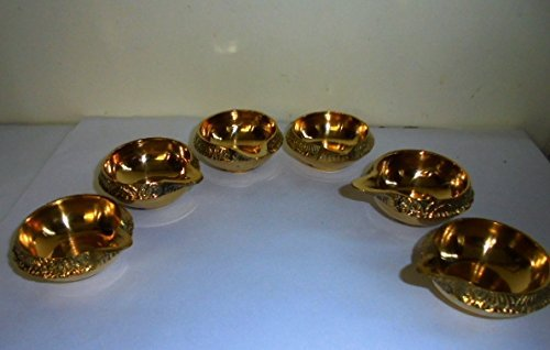 Set Of 6 Brass Diwali Handmade Kuber Diyas Oil lamps for Hindu Puja Religious Christmas Lighting by Artcollectibles India