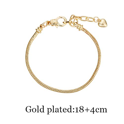 HOUBL Snake Charm Bracelets for Women Superyne Gift Accessories for Beads Jewelry Party Gifts Fit Pandora Bracelet 17CM 21CM,18cm Gold