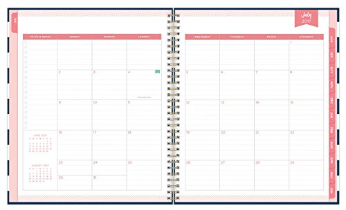 Day Designer for Blue Sky 2017-2018 Academic Year Weekly & Monthly Planner, Wire-O Binding, 8