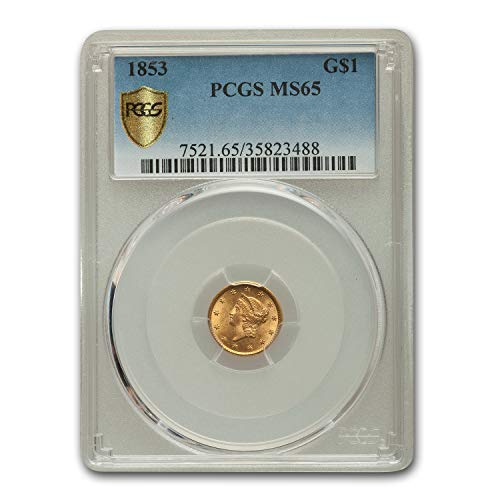 - 1853 $1 Liberty Head Gold MS-65 PCGS Gold MS-65 PCGS
