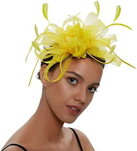 9cba7f3d2e1c4 SLSHJY Fascinators Hats Tea Party Headwear Kentucky Derby Hats Wedding  Cocktail Mesh Flower Hair Clip for