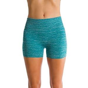 Homma Women's Seamless Compression Heathered Yoga Shorts Running Shorts Slim Fit (medium, jade)