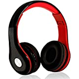Mokata Headphone Bluetooth Wireless Over Ear On Foldable Hi-fi Stereo Sound Headset with AUX 3.5mm Jack Cord SD Card Slot Microphone for Young Adults Mobile TV PC Game Rechargeable Equipment B03 Red