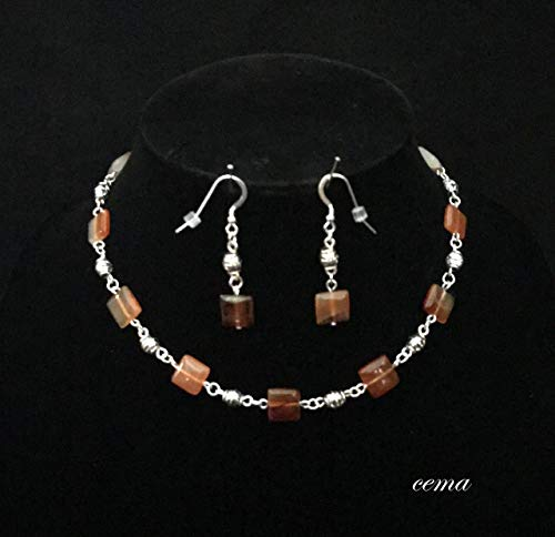 - Choker necklace and earring set. Carnelian square and silver tube beads with matching earrings