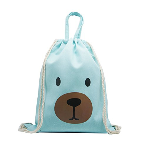 Artone Cartoon Bear Drawstring Bag Travel Daypack Sports Portable Backpack Canvas Handbag Green (Print Handbag Drawstring Tote)