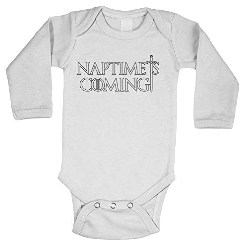 - Naptime is Coming - GOT TV Parody Long Sleeve Bodysuit (White, 12 Months)