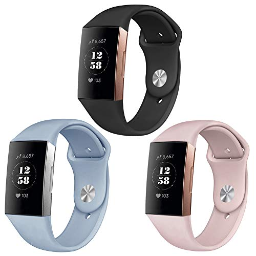 Pedfsy Bands Compatible Fit bit Charge 3 & Charge 3 SE, Soft Silicone Strap Replacement Sport Wristband Bracelet for Fit bit Charge 3 Watch, Large, 3 Packs, Black, Sand Pink, Light Blue