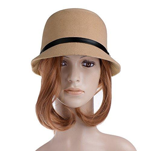 Vbiger Women Woolen Fedora Bowler Hat (Beige)