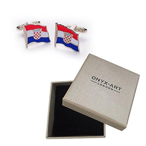 By Croatian Flag Gift Art Onyx Box Croatia Of National Cufflinks amp; Pair zCF15On