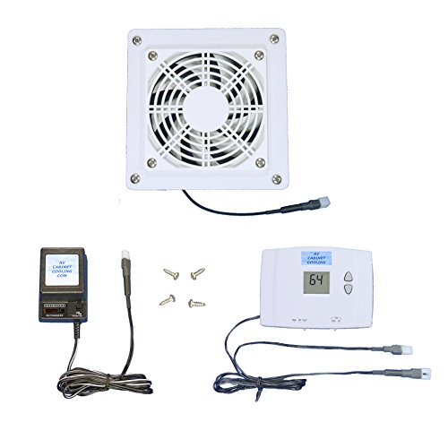 AV Cabinet Digital Thermostat-Controlled Cooling Fan with Multi-Speed (White Model), for Home Theater Cabinets (Cabinet Cooling Fan Thermostat)