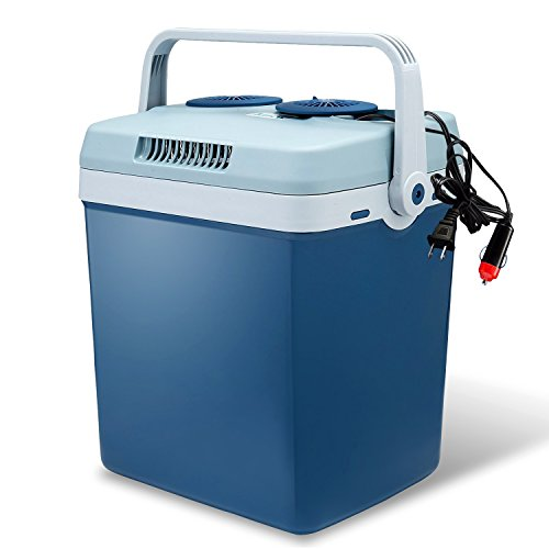 Knox Electric Cooler and Warmer for Car and Home - 34 Quart (32 Liter) - Dual 110V AC House and 12V DC Vehicle Plugs - Blue - Vehicle Plug