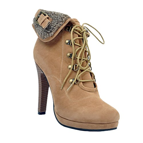 12cm Shoes Camel up Handmade Womens Boots Heel Fashion High Large Cross Winter Kolnoo Size Lace Party qtFx6wAW