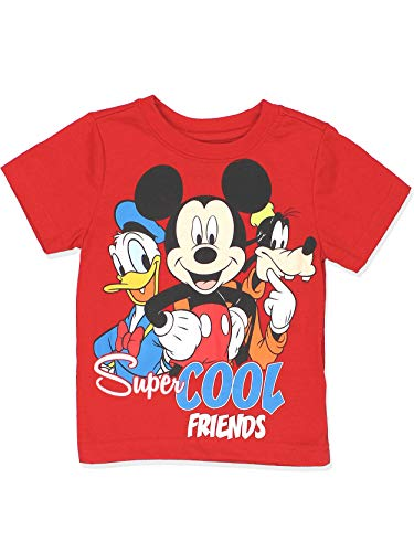 Mickey Mouse Clubhouse Boys Short Sleeve Tee (2T, Red)