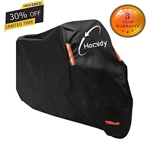 Aideng Motorcycle Cover, New Upgraded Thicker 300D Oxford All Season Super Waterproof Motorcycle Rain Cover Breathable XXL Bicycles Shelter Cover for 104 inches Harley, Triumph, Suzuki, Honda or More