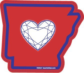 Heart in Arkansas Sticker - A Diamond Shapped Heart in The AR Shaped State.Vinyl, Die-Cut, 3.5 inch, Custom Designed Decal & Gift. Use on Water Bottles, Laptops, Coolers, Car and Truck Bumper ()