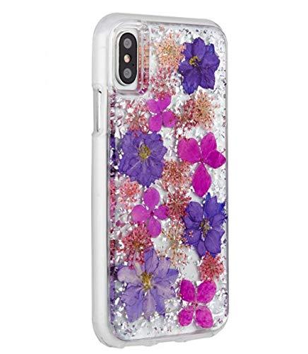 iPhone XR Case - Karat Petal Real Flower 1 Piece Custom Made iPhone case for iPhone 6.1 - iPhone XR (Purple Flower) ()