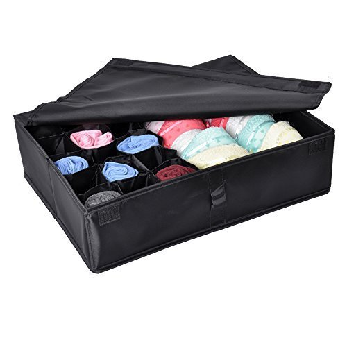 2 in 1 Foldable Drawer Divider, Tune Up Underwear Socks Ties Bra Drawer Organizer Storage Box (Black)