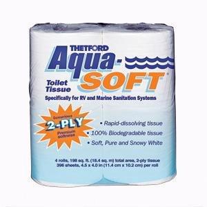 Thetford 03300 Aqua-Soft Toilet Tissue 2-Ply / 4-Pack Quantity 10 by Thetford