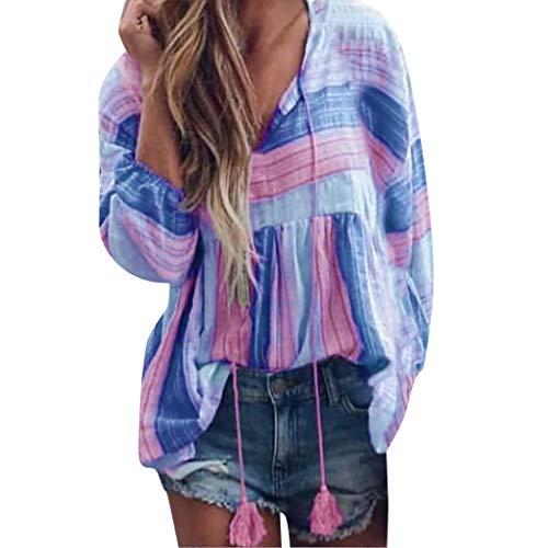 NCCIYAZ Womens Tee T-Shirt Boho Ethnic Striped Fashion Loose V-Neck Long Sleeve Tops Ladies Blouse(2XL(8-10),Purple)