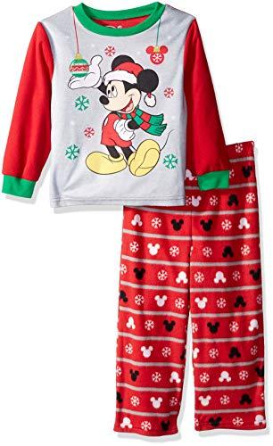 Disney Boys' Toddler Mickey Mouse 2-Piece Fleece Pajama Set, Ornamental red, 4T ()