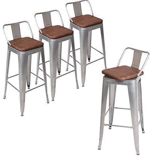 Andeworld Set of 4 Swivel Counter Height Bar Stools Industrial Metal Bar Stools Indoor-Outdoor (Low Back Sliver with Wooden Top, Swivel 30 Inch)
