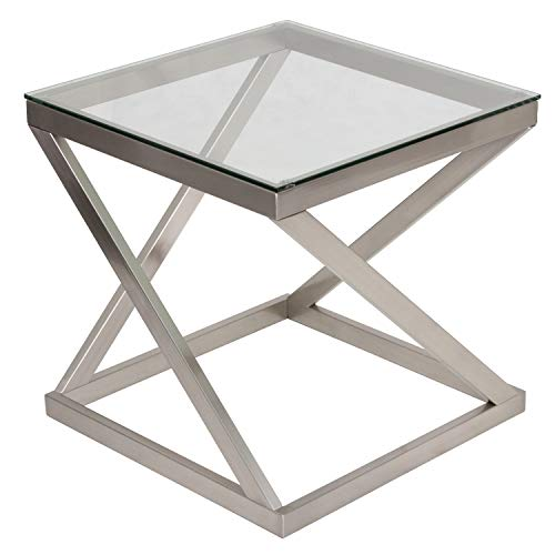 Signature Design by Ashley - Coylin Glass Top Square End Occasional End Table, Blushed Nickel Finish (Side Tables Glass)
