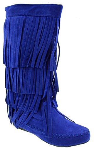 Mudd 55 Womens 4 Layer Fringe Moccasin Mid-Calf Boots Blue 9 (Five Layer Fringe)