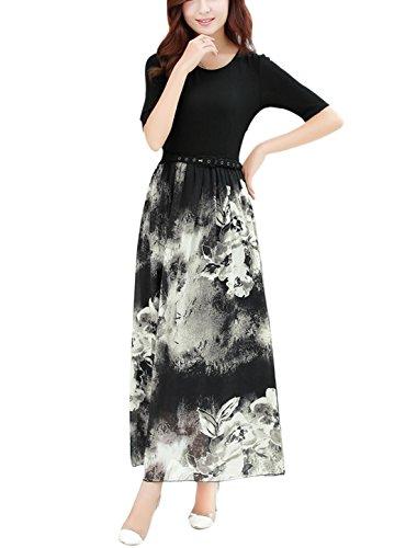 Buy belted chiffon print dress - 6