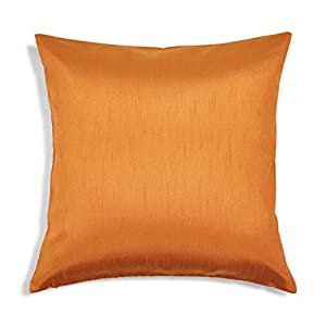 Aiking Home Solid Faux Silk Euro Sham/Pillow Cover, Zipper Closure, 26 by 26 Inches, Orange