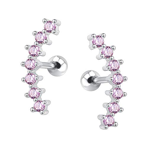 Curve Seven Stud CZ Stud Earrings 316L Stainless Steel Ear Helix Conch Cartilage Piercing (Pink)