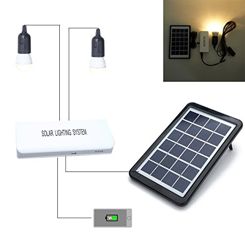 Weanas Solar Panel Power Home System Kit with LED Bulbs External Battery Power Bank Solar Energy Recharge USB Combo Charging Charger Cable for iPhone iPad Samsung HTC Camping Trip Home Indoor Outdoor