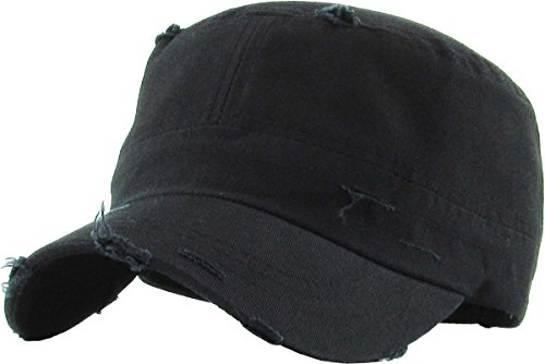 H-217-D06 Distressed Womens Mens Vintage Military Style Army Cadet Hat - ()