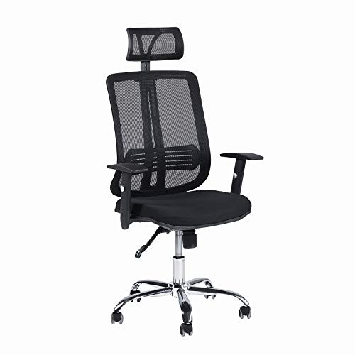 CCTRO Mesh Ergonomic Office Chair with Adjustable Headrest and Padded Flexible Armrest, 360 Degree Swivel Modern Computer Task Chairs for Home (Modern Air Mesh Office Chair)