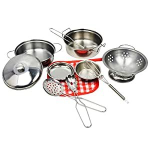 Flameer 10 Pieces Deluxe Cookware Set, Kids Kitchen Utensils Toy Set, Development Educational Toy for Kids Children