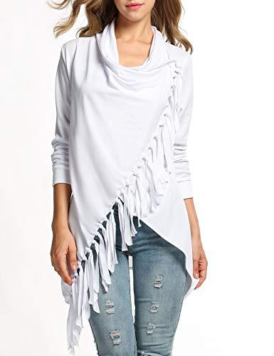 Collar Wrap Blouse - SummerRio Fashion Women's Long Sleeve Tassels Hem Cardigan Blouses Poncho