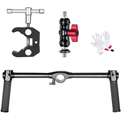 Neewer Photography Dual Handheld Grip Kit for Neewer/Zhiyun Crane and Crane M 3-Axis Handheld Gimbal Stabilizer, Includes Dual Handheld Grip, Large Super Clamp, Ball Head and 3-in-1 Cleaning Kit (Kit Gimbal)