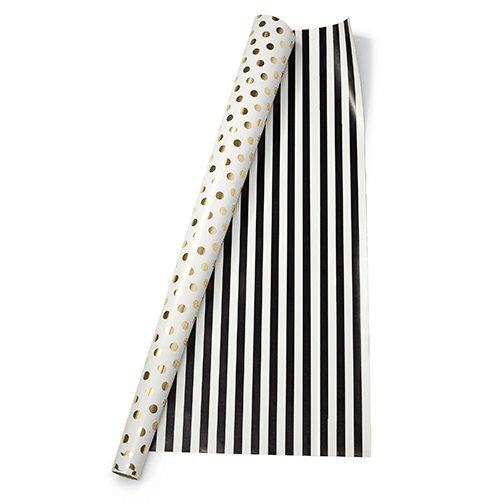 kate spade new york Gift Wrap, Gold Dots/Black (Black And White Striped Wrapping Paper)
