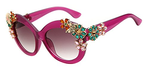 Adewu Women's Luxury Butterfly Crystal Flower Sunglasses - Luxury Sunglasses Case