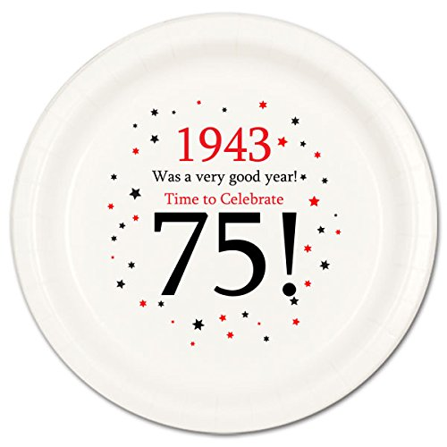 75th Birthday Paper Plates