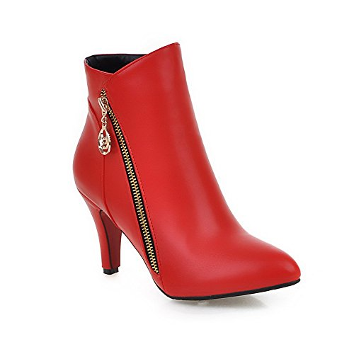 VogueZone009 Women's Low Top Zipper High Heels Pointed Closed Toe Boots with Metal, Red, 43 (Coupons For Party City 2016)