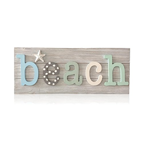 (Tumbler Home Wood Beach Word Sign with Sea Life | White Washed Finish | Hangs or Stands (Pastel))