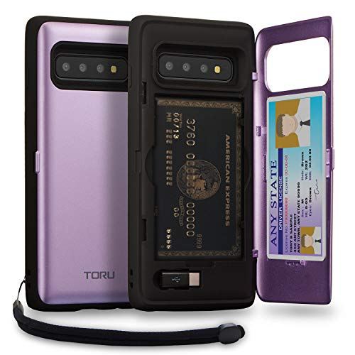 (TORU CX PRO Galaxy S10 Wallet Case Purple with Hidden Credit Card Holder ID Slot Hard Cover, Strap, Mirror & USB Adapter for Samsung Galaxy S10 (2019) -)