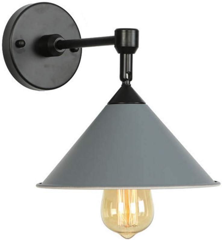 Lámpara De Pared De Hierro Forjado, Aplique Moderno Y Aplique Para Club Farmhouse Porch Garage, Cabezal Simple, E27 (Sin Bombillas), 110-240V,Gris