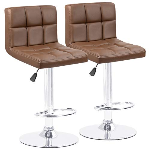 Homall Modern PU Leather Adjustable Swivel Barstools, Armless Hydraulic Kitchen Counter Bar Stools Synthetic Leather Extra Height Square Island Bar Stool with Back Set of 2(Brown)