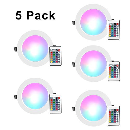 [5 Pack] RGB Recessed Lighting, 4 inch 10W RGB Recessed Light Color Changing w/Remote Control LED Ceiling Panel Light for Home Stage Party Decor, AC 85-265V